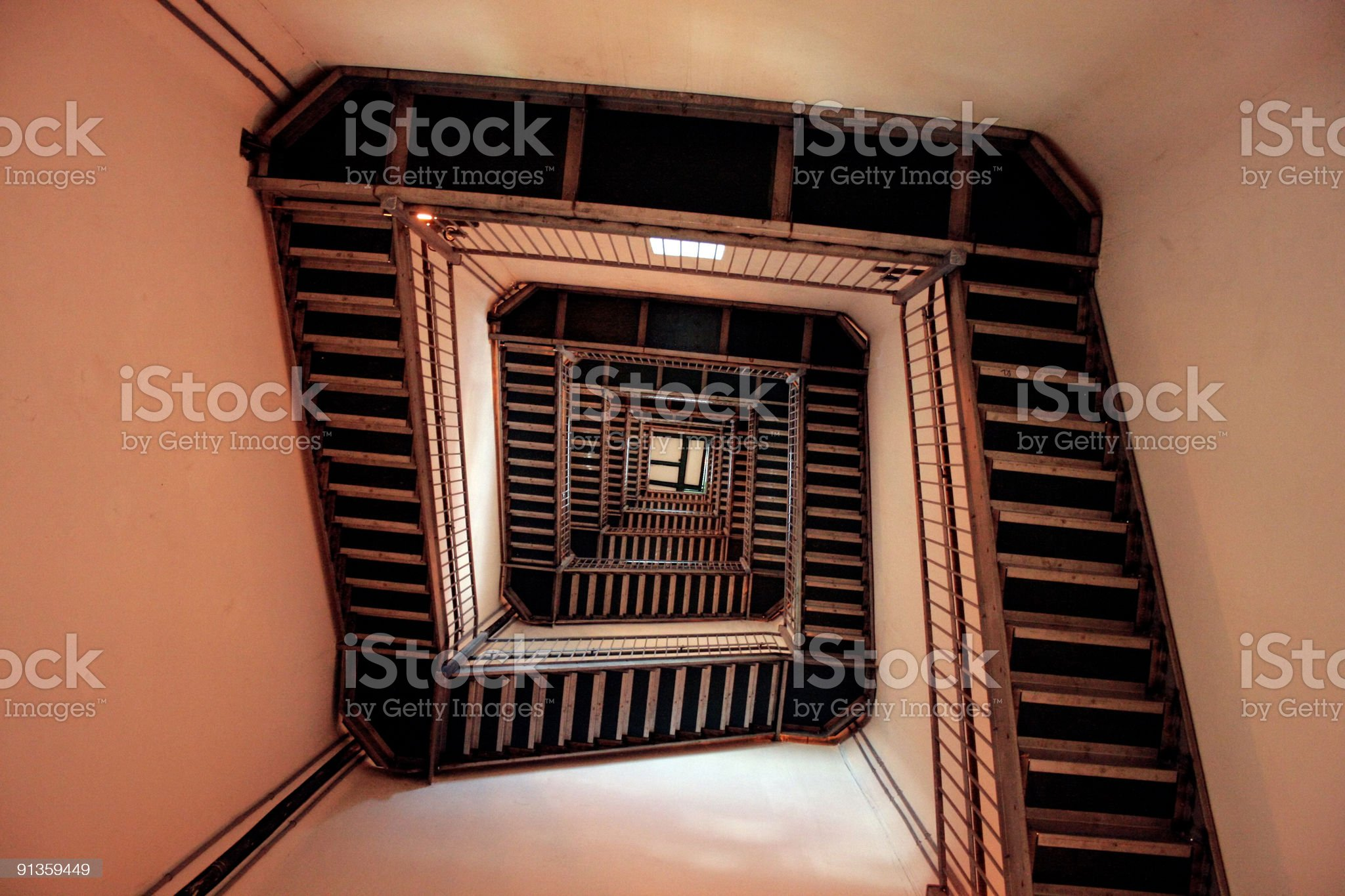 Infinite Winding Staircase - Low Angle View royalty-free stock photo