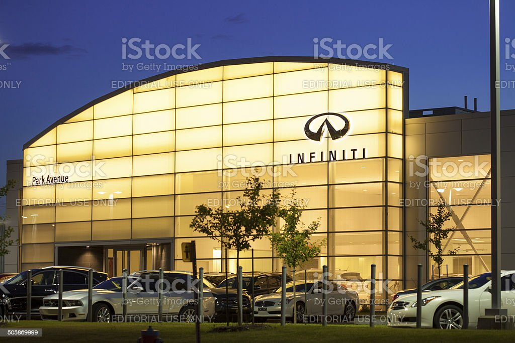 Infiniti Auto Dealership Displaying new Cars stock photo