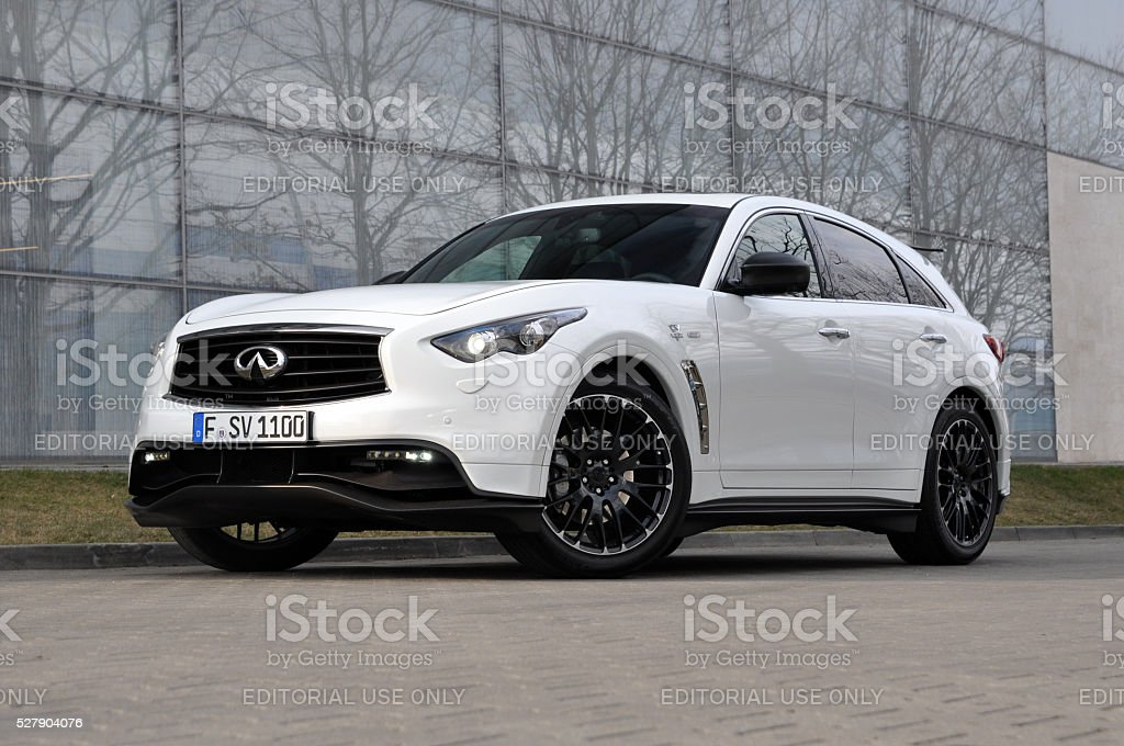 Infiniti QX70 Vettel Edition on the parking stock photo