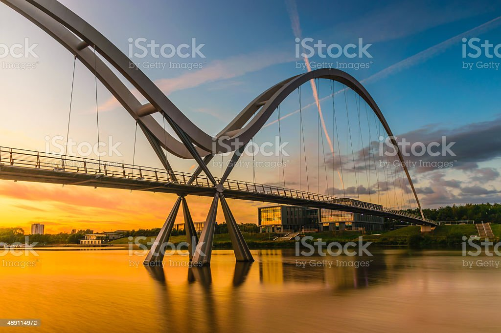 Infinity Bridge at sunset In Stockton-on-Tees, UK stock photo