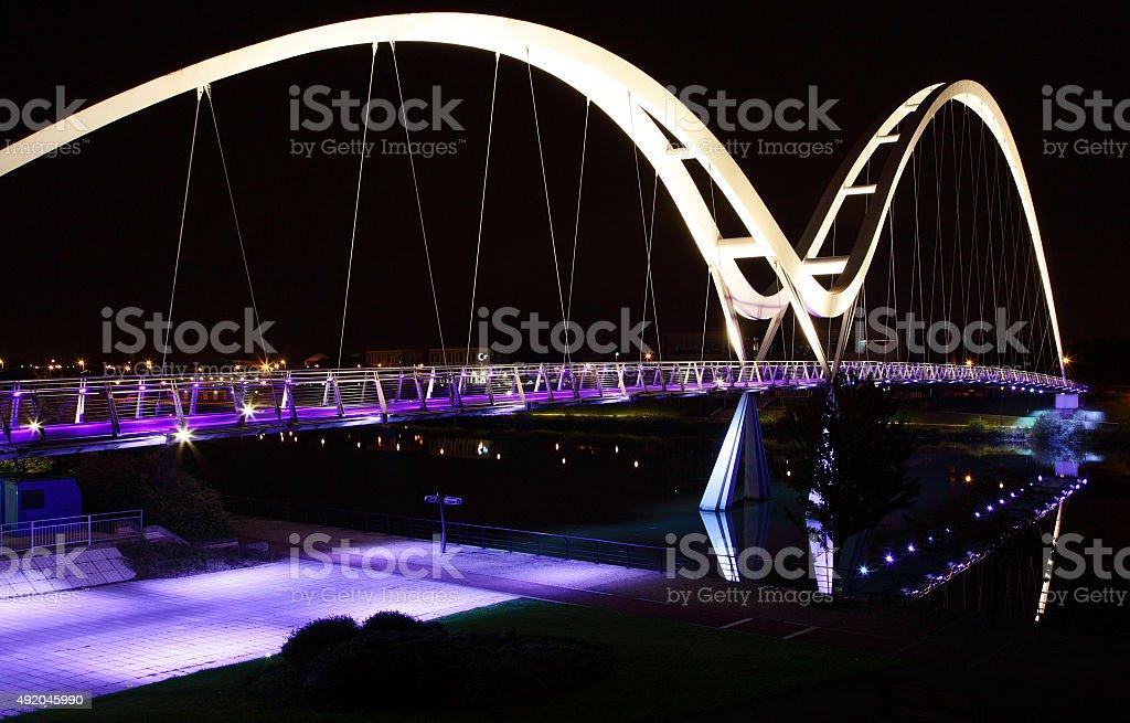 Infinity Bridge,Cleveland,England at night stock photo