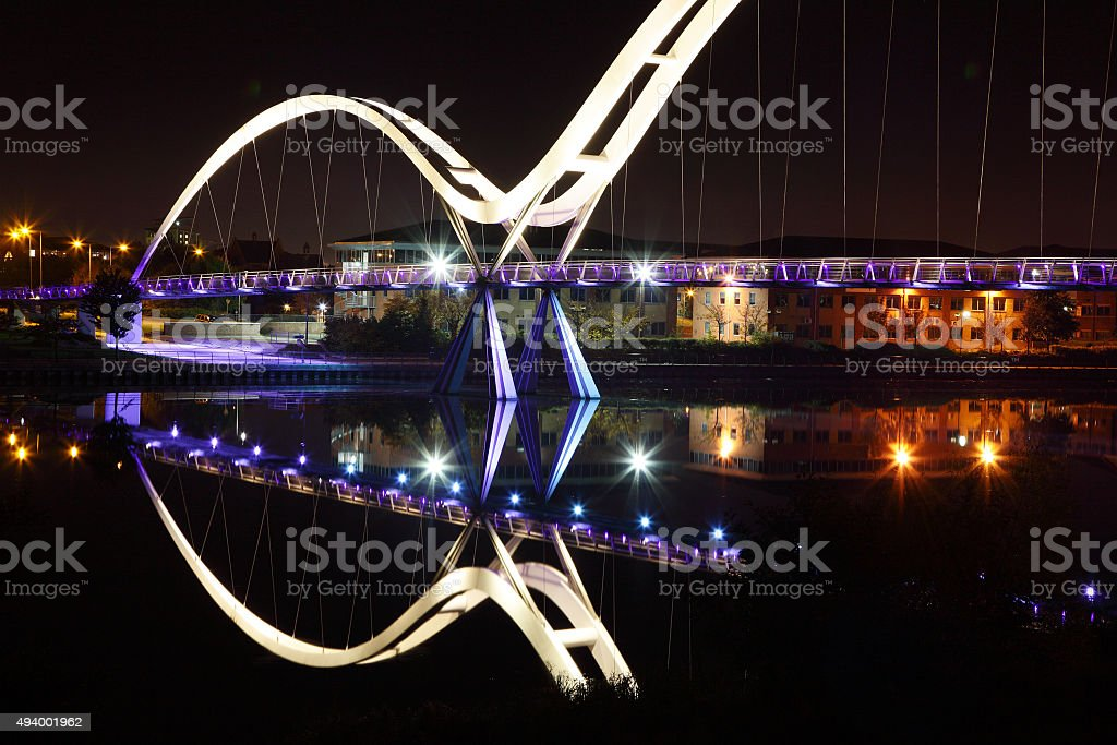 Infinity Bridge,Stockton,Cleveland at night stock photo
