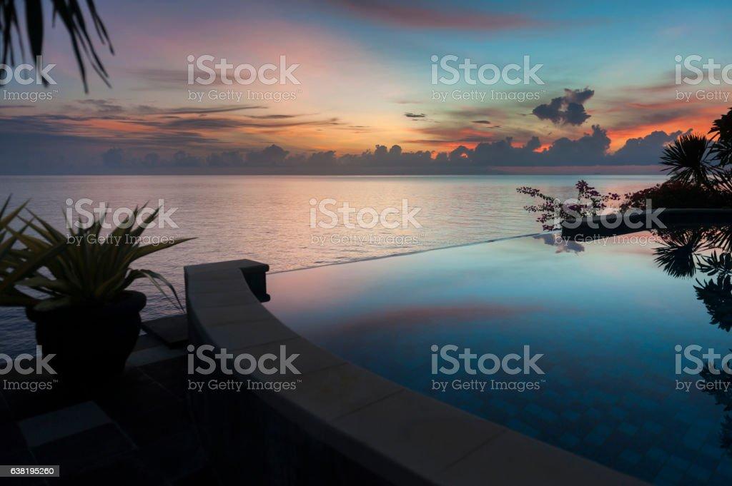Infinity Pool at a Villa in Bali stock photo