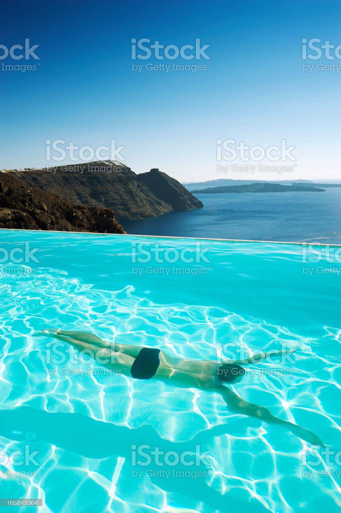 Infinity Pool Caldera View Santorini Greece royalty-free stock photo