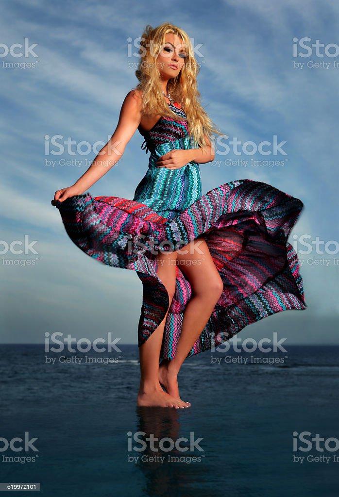 Infinity Pool Ocean Dress Spin stock photo
