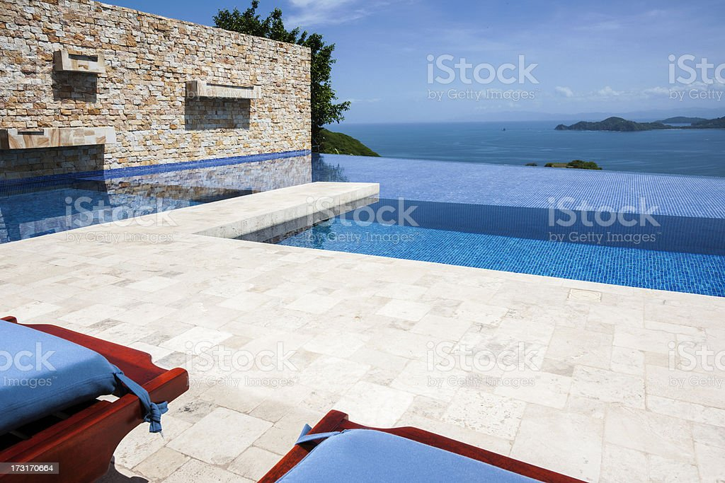 Infinity pool with a view stock photo