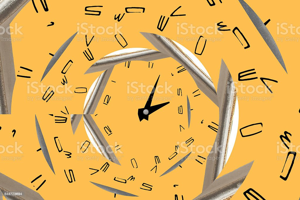 infinity spiral clock. Time concept. stock photo