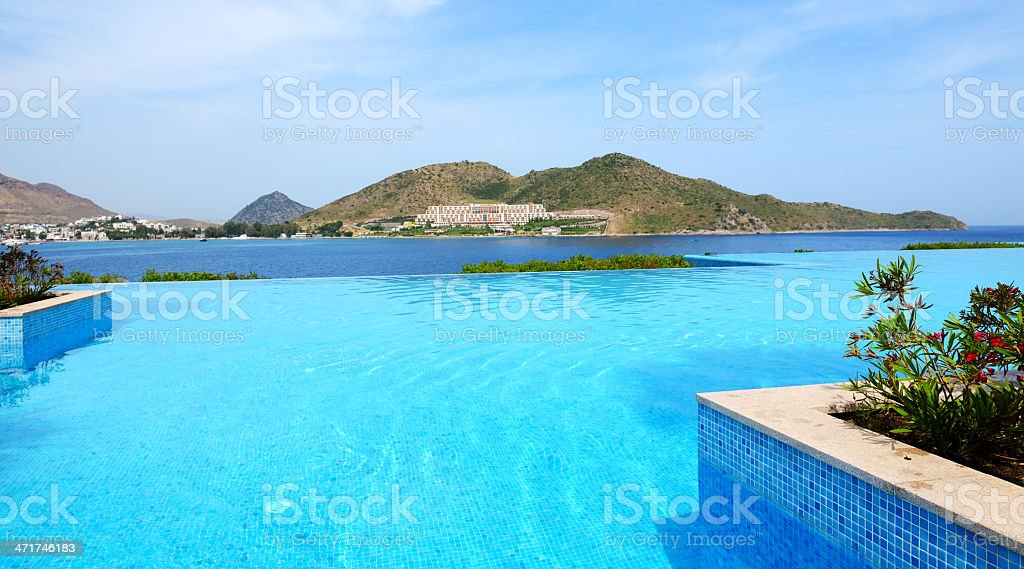 Infinity swimming pool at luxury hotel, Bodrum, Turkey royalty-free stock photo
