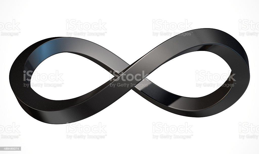 Infinity Symbol Carbon Fibre stock photo
