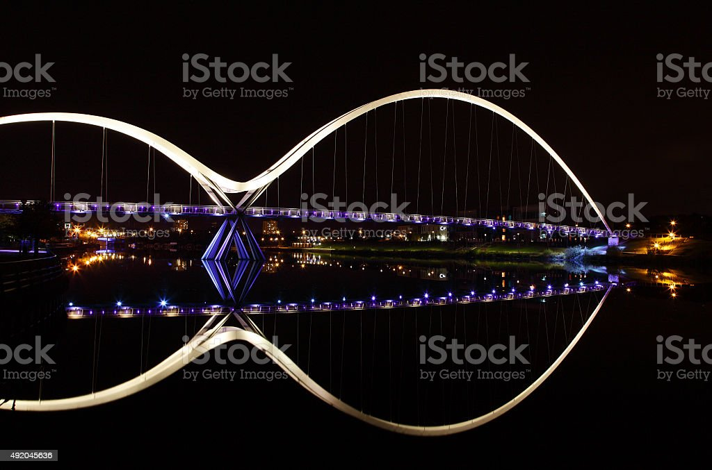 infinity symbol formed by bridge and reflection stock photo