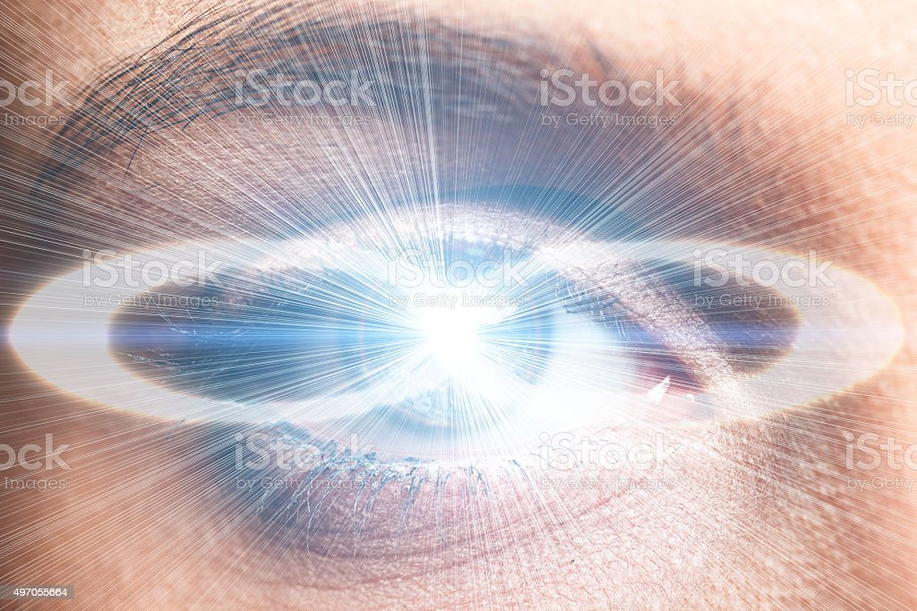 Infinity symbol in human eye stock photo