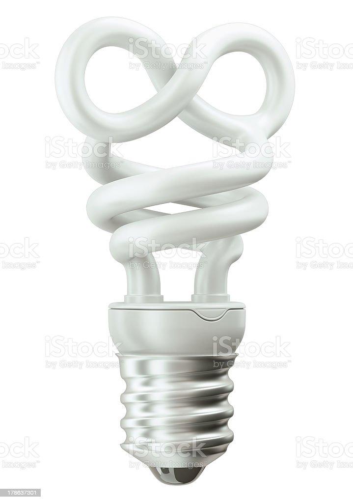 infinity symbol light bulb on white royalty-free stock photo