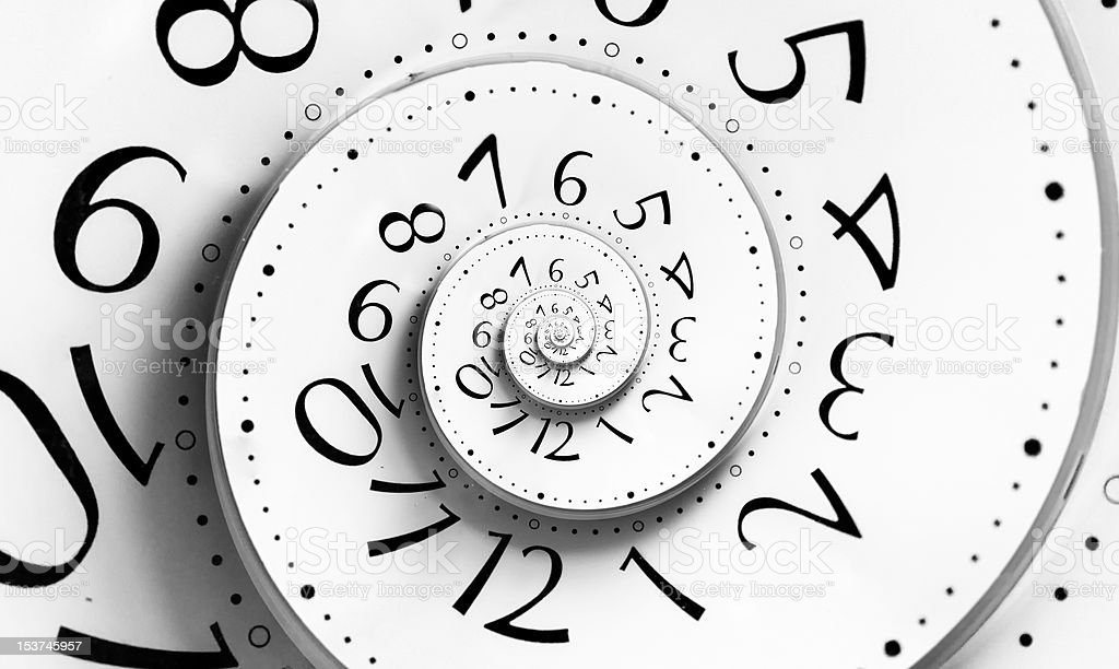 Infinity time spiral stock photo