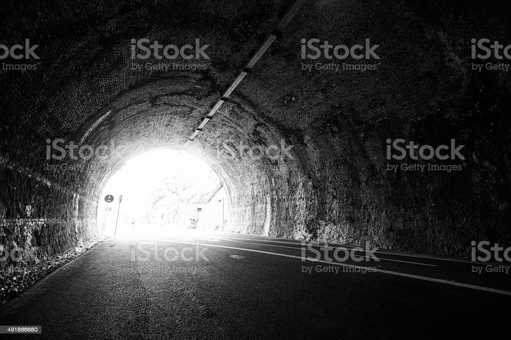 Infinity view out through a tunnel stock photo