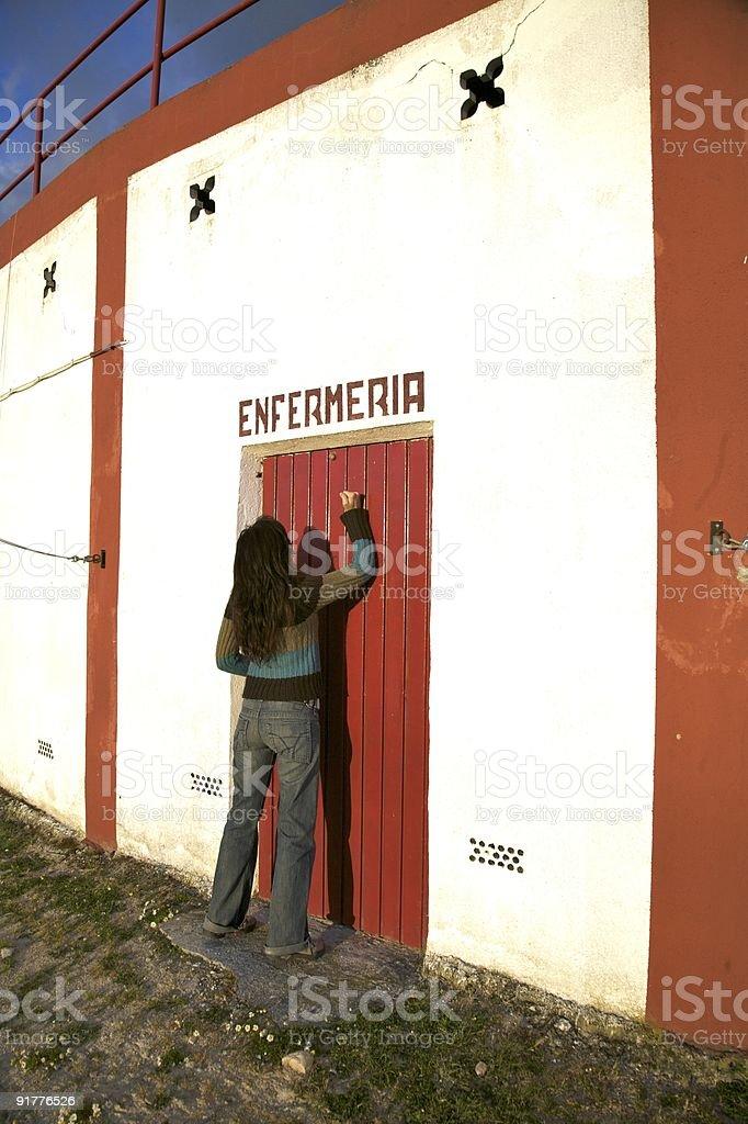 infirmary door stock photo
