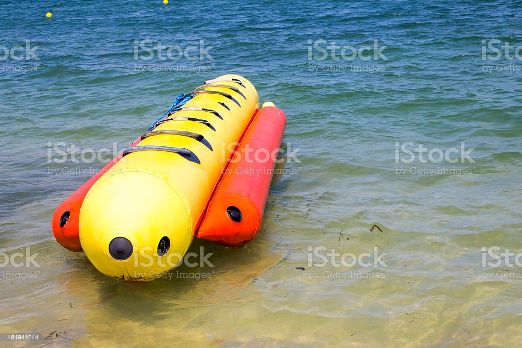 Inflatable Banana Boat on the Sea stock photo