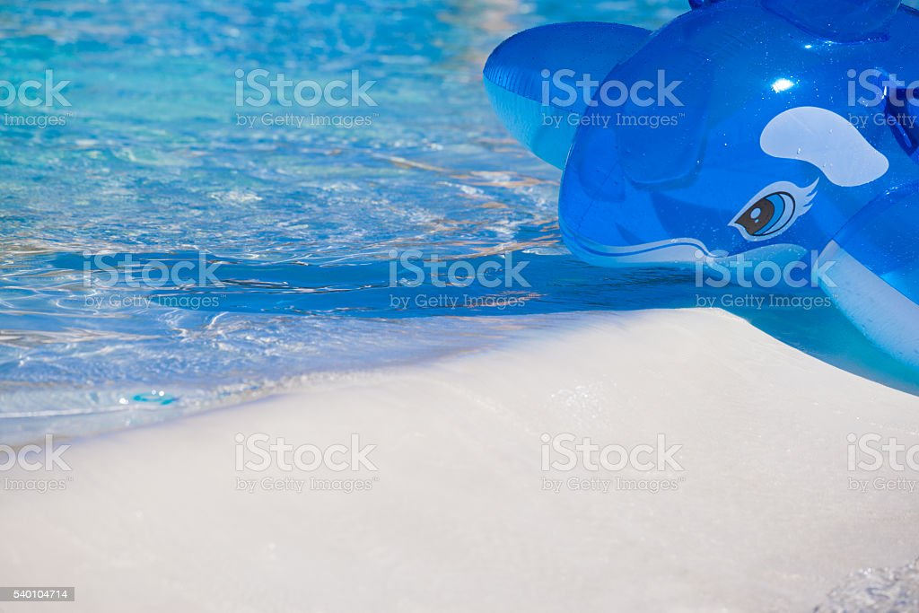 Inflatable blue whale stock photo