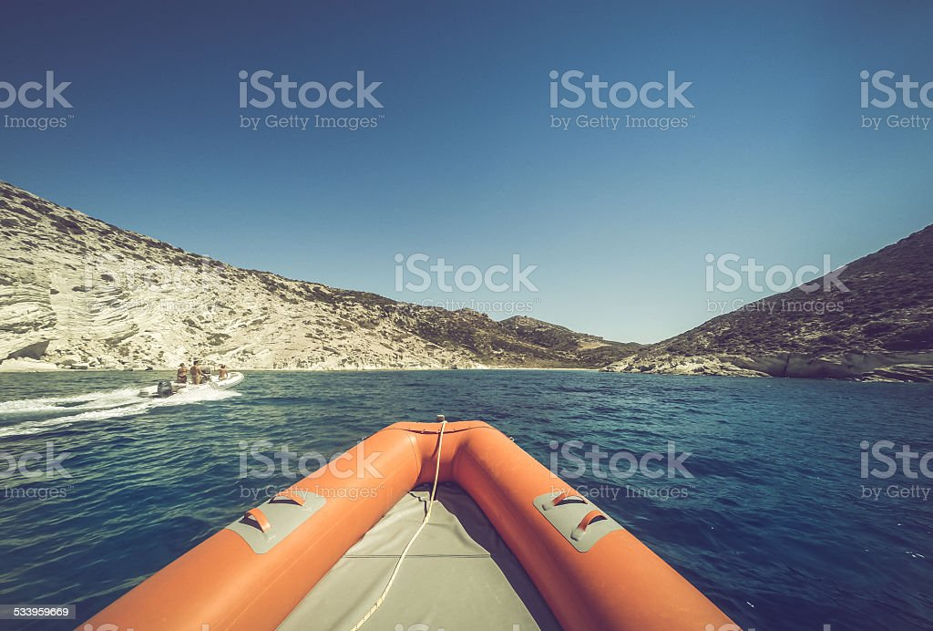 Inflatable Boat at sea stock photo