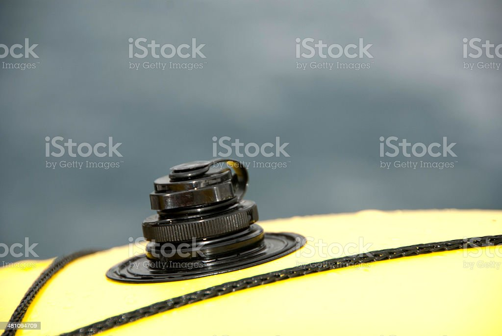 Inflatable boat valve stock photo
