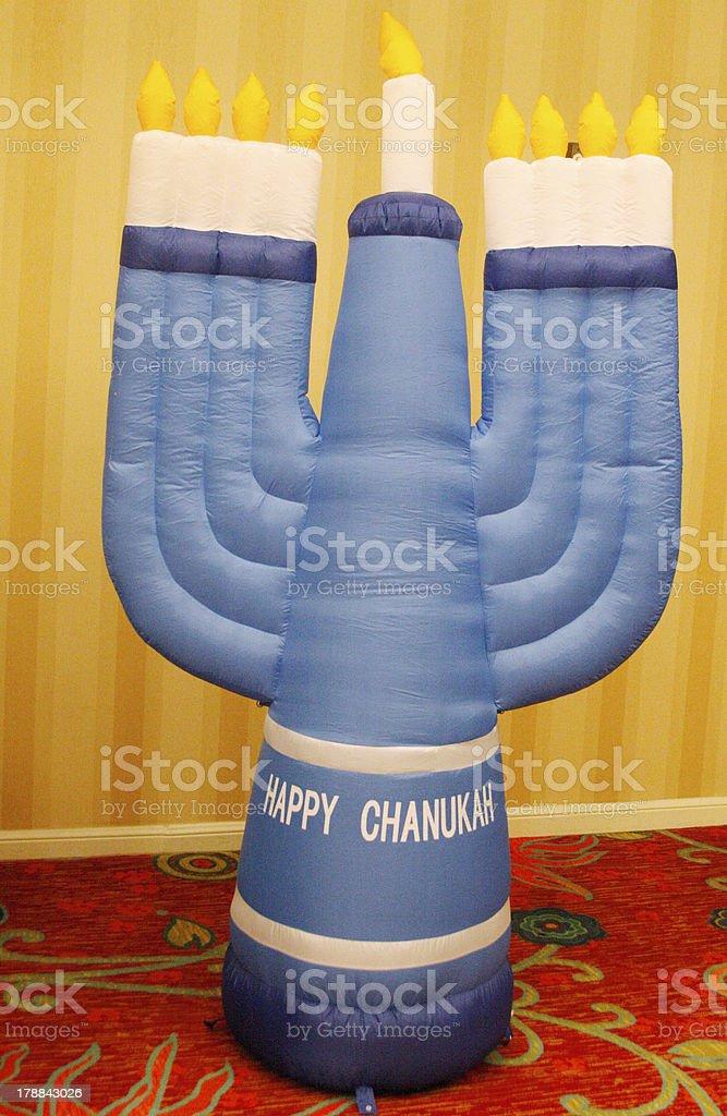 Inflatable Menorah stock photo