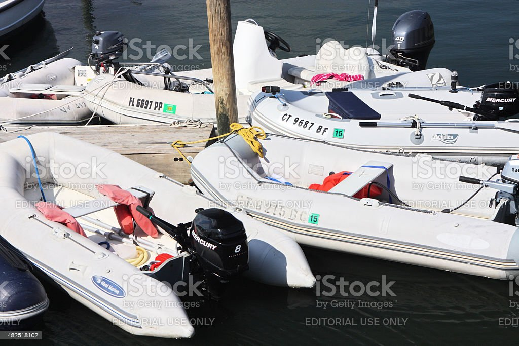 Inflatable Motorboat Skiff stock photo