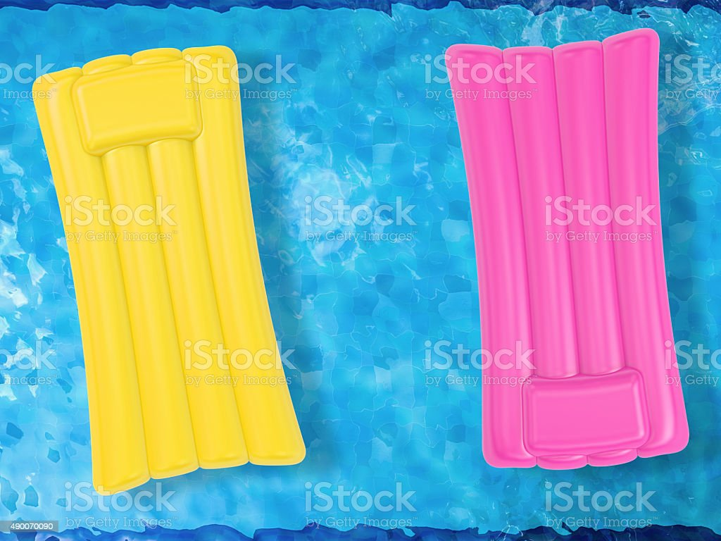 inflatable raft on pool top view stock photo