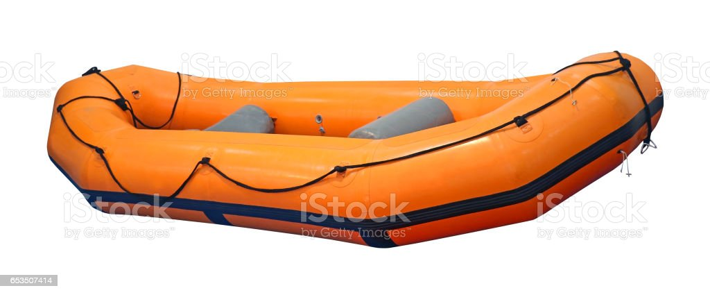 Inflatable rubber boat stock photo