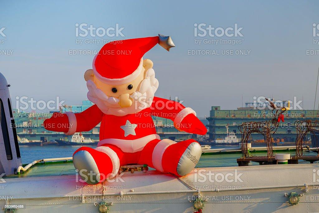 Inflatable santa claus doll stock photo