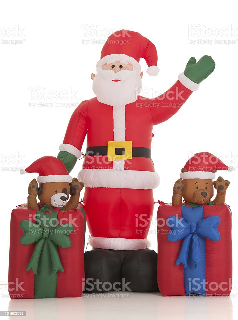 Inflatable Santa Clause Lawn Decoration (Isolated) stock photo