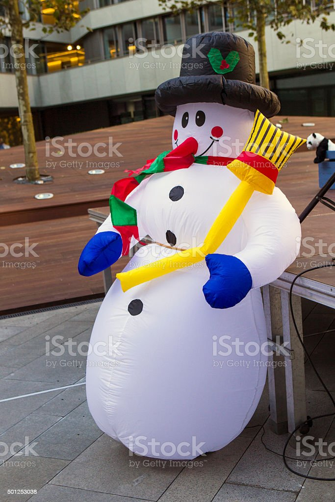 Inflatable snowman stock photo