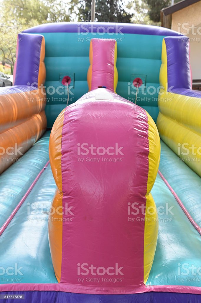 inflatable trampoline stock photo