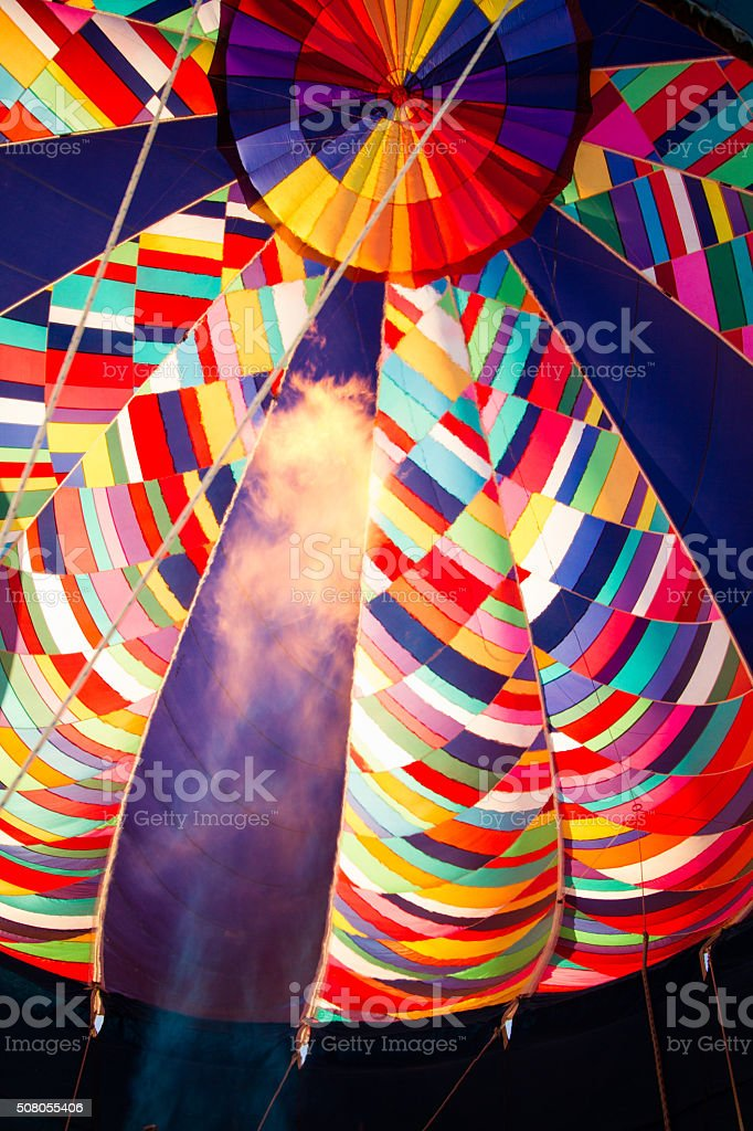 Inflate Hot Air Balloon stock photo