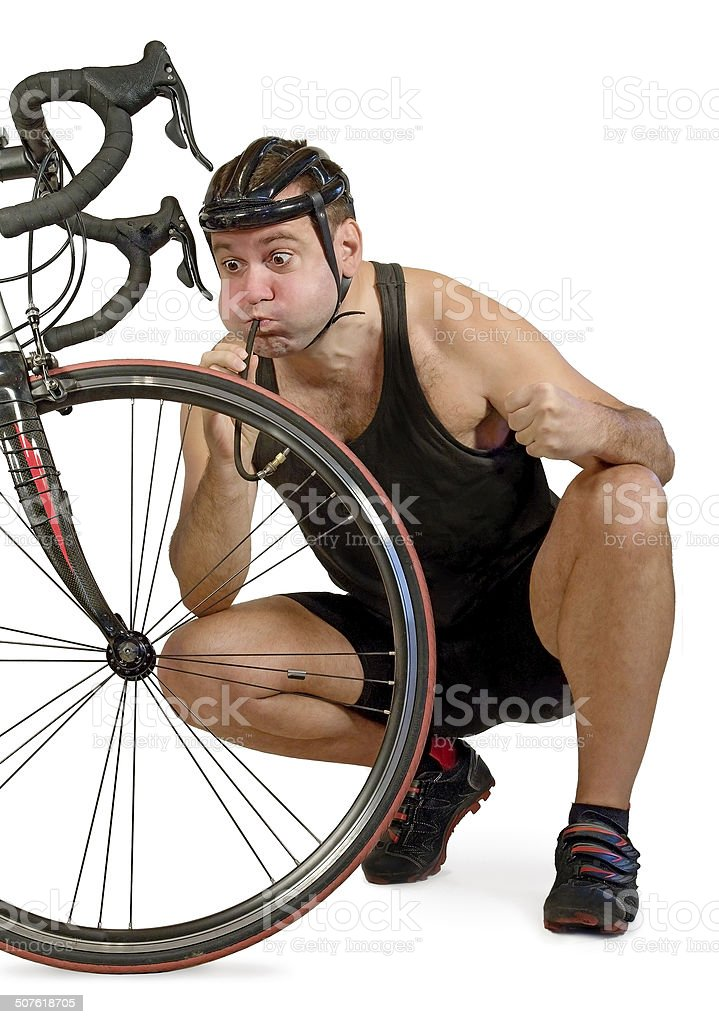 Inflate the bicycle tyre stock photo