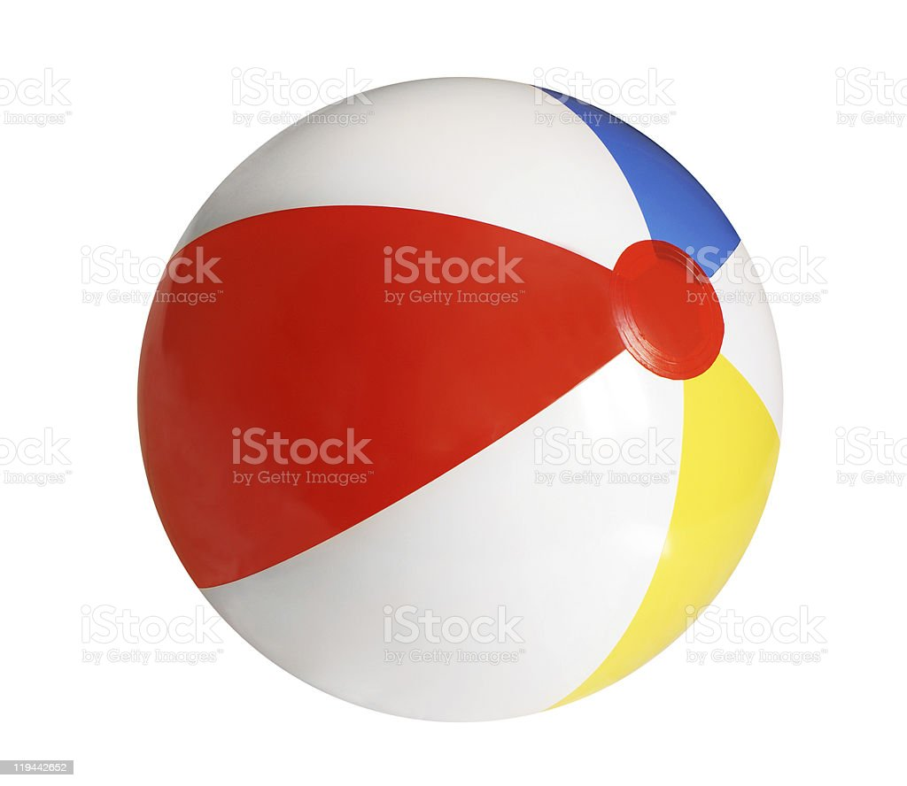 Inflated beach ball on white background  stock photo