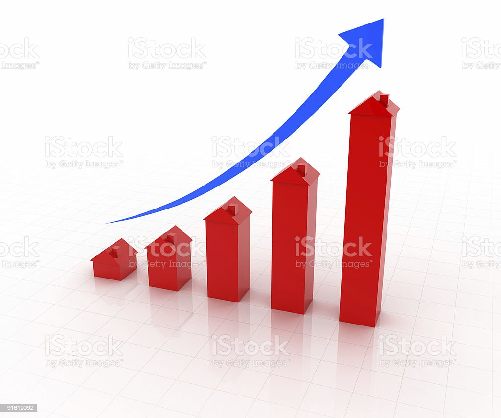 Inflating House Graph stock photo