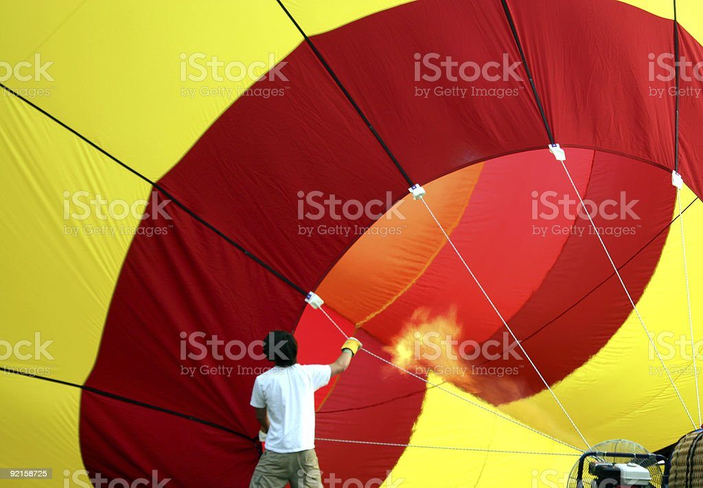 Inflating the hot air balloon royalty-free stock photo