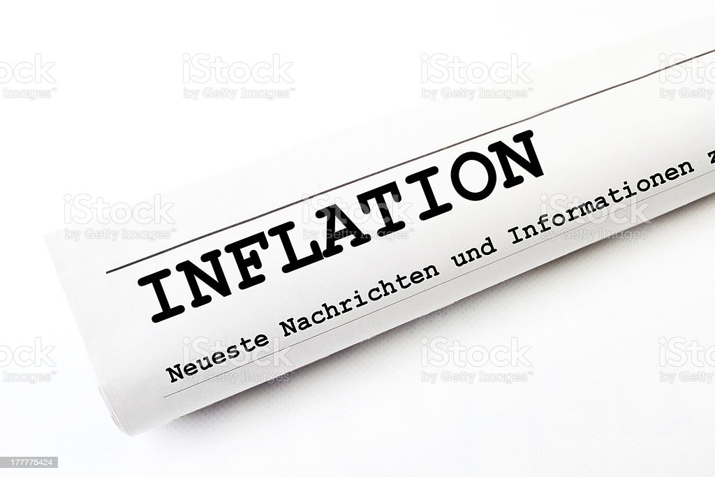 Inflation newspaper stock photo