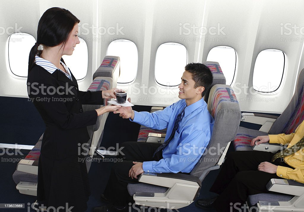 In-Flight Beverage Service royalty-free stock photo