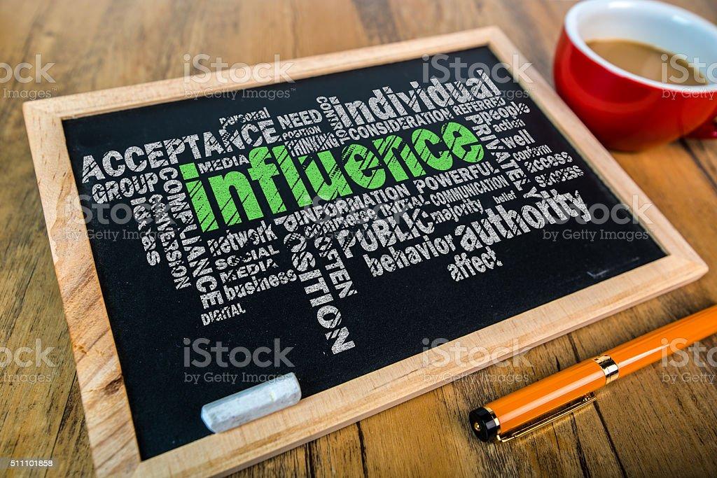 influence word cloud chart on small blackboard stock photo