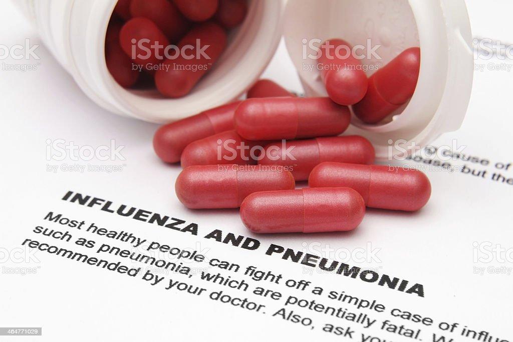 Influenza and pneumonia stock photo