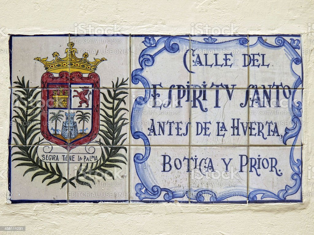 Info sign Road Espritu dek Santo in Las Palmas stock photo