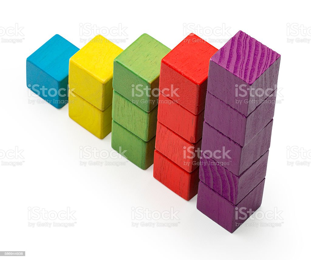 Infographic Stair Chart Bar, Children Toy Blocks Increase Info Graphic stock photo