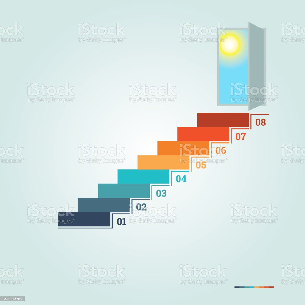 Infographics numbered steps up of ladder and  doorway with sun stock photo