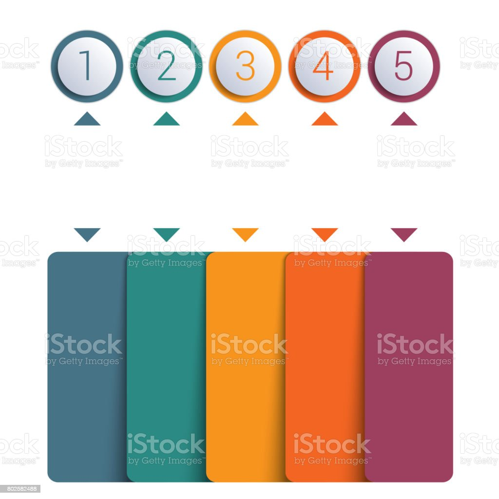 Infographics template, colorful buttons numbered for 5 positions stock photo