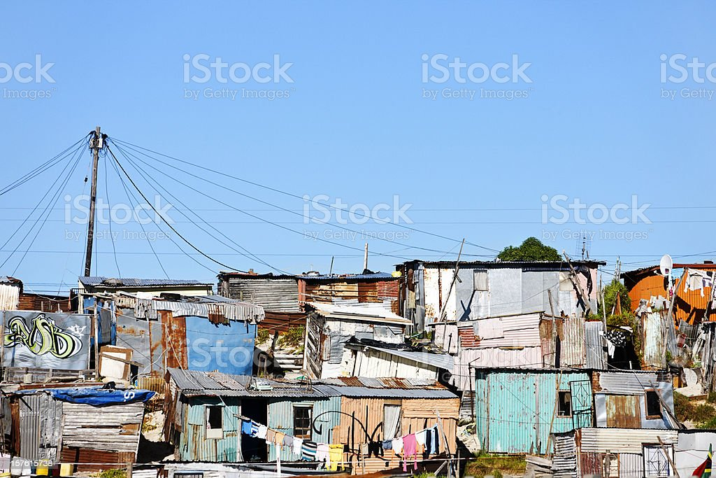 Informal settlement or shantytown outside Cape Town royalty-free stock photo