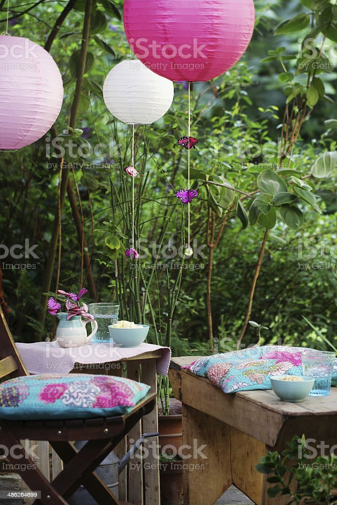Informal summer party at the garden stock photo