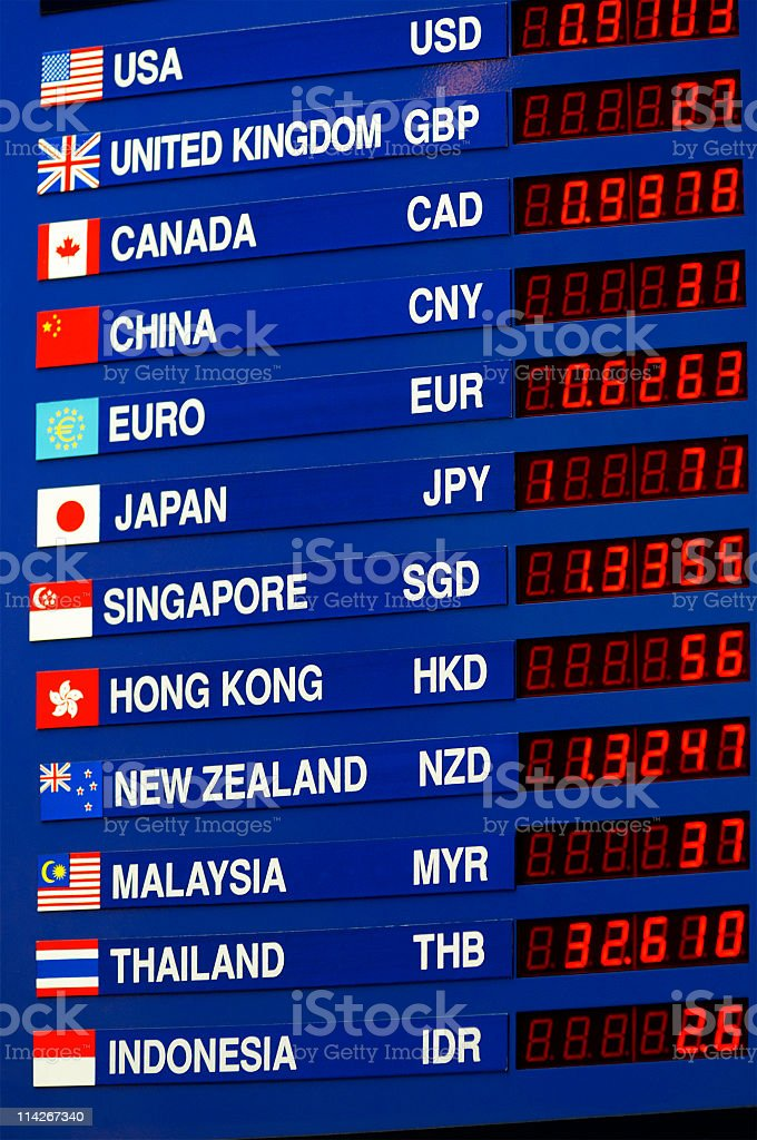 Information board of currency exchange prices stock photo