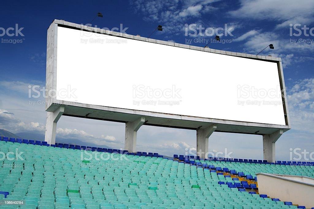 Information board on the stadium stock photo