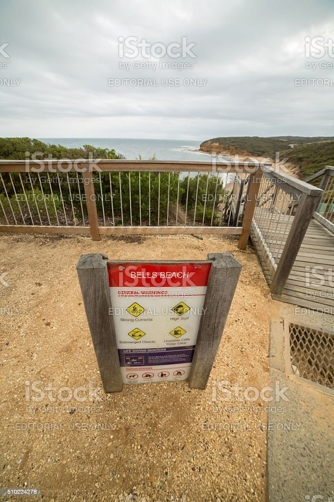 Bells beach, Australia - January 28, 2016: Information board stock photo
