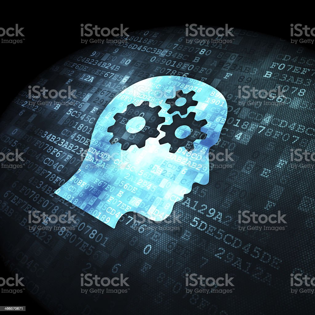 Information concept: Head With Gears on digital background stock photo
